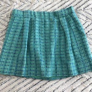 JCrew Teal Blue Tweed Mini Skirt (Size 6)